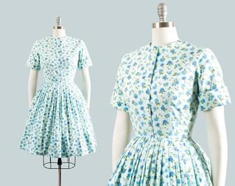 Vintage 1950s Dress | 50s Rose Floral Print Cotton Blue Full Skirt Shirtwaist Day Dress (medium)