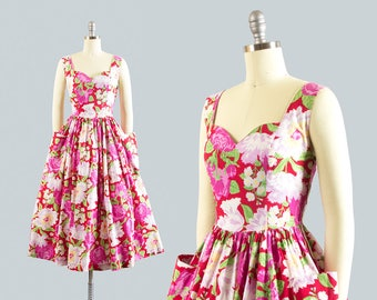 Vintage 1950s Style Dress | 1980s Floral Rose Print Cotton Sundress Red Pink Low Open Back Day Dress with Pockets (small)