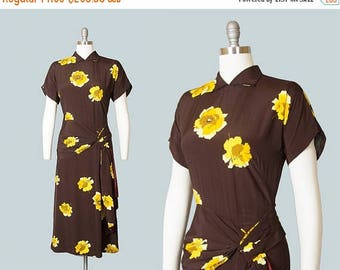 20% OFF SALE Vintage 1940s Dress | 40s Floral Rayon Draped Sash Peplum Brown Yellow Evening Cocktail Dress (small)