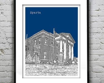 1 Day Only Sale 10% Off - Sparta Art Print Poster Original North Carolina NC Version 1
