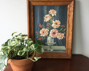 Mid Century Roses and Vase Paint by Numbers in Original WoodFrame
