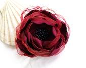Burgundy Flower Brooch, Large Floral Hair Clip, Bordeaux Flower, Handmade Silk Flower, Dark Red Flower, Gift for Mother, Red Corsage Flower