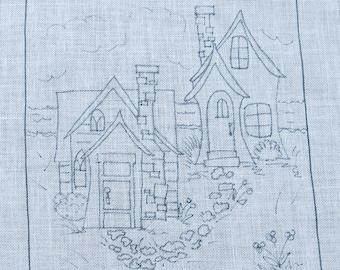 2 Houses Rug Hooking Pattern