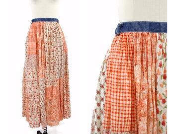 1980s Orange Patchwork Skirt / 80s Floral Prairie Boho Skirt in Orange with Denim Waistband