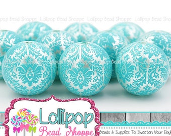 20mm Turquoise & White Damask Print Pearl Beads, Chunky Beads, Bubblegum Beads, Round Imitation Acrylic Faux Pearls, Bubble Gum, Pkg 6 or 10