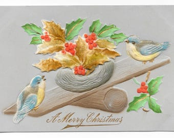 Embossed Birds and Nest Christmas Postcard, c. 1910