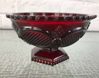 Avon Cape Cod Ruby Red Footed Open Candy Dish or Compote