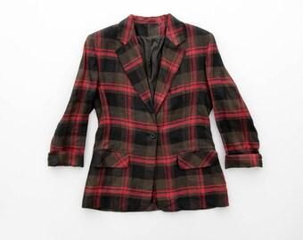 Vintage jacket // linen checked lightweight spring school blazer