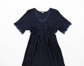 Vintage Dress // Navy Blue Dress // Texture Stripe Lace  Dress