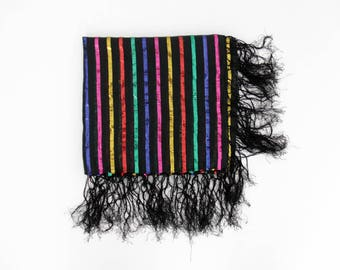 Vintage Scarf // Colorful Striped Fringed Scarf
