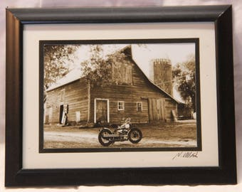 Framed 5x7 inch photo of Indian bobber motorcycle on a farm