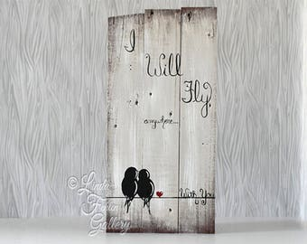 Reclaimed Wood Signs Rustic Wood Sign Engagement Gift 5 year Gift Wedding Gift for Couple Birds on a Wire Art 5th Anniversary Gift Pallet