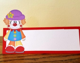 Circus Place Cards, 12 blank place cards, birthday party table tent cards, birthday party place cards