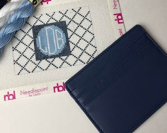 Needlepoint Monogram Credit Card Wallet Insert, includes card wallet
