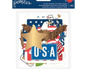 Pebbles Gold Foil USA Die Cuts
