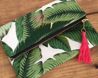 Banana Palm Leaf Clutch - Custom Clutch  - Personalized Gift - Bridesmaid Gift - Greenery Clutch - Gift for her - Gift under 30