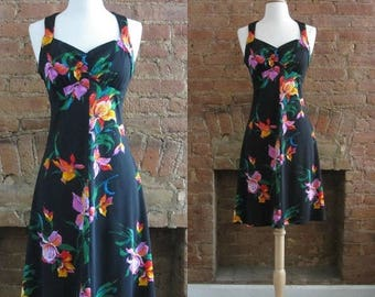 December Sale 1970s black floral 1940s revival halter dress | 70's does 40's Retro Bombshell Pin Up