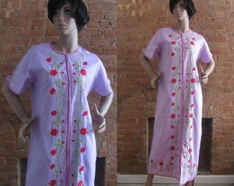 December Sale 1970s floral embroidered lilac dress | 70's boho market maxi dress