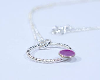 Contemporary Silver and Purple Circle Necklace