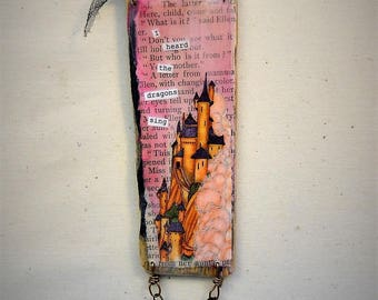 I heard the dragons sing mini mixed media collage on wood