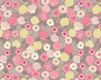 Wild Roses Yellow, Lewis and Irene, quilting cotton, fabric by the yard, floral print, flower, wildflowers, bouquet, grandma's garden, Flo