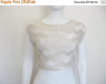 ON SALE Pearly Creme Cropped TEXTURED  top