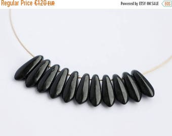 ON SALE -15% 3x11mm Black Daggers (30pcs) Jet Czech Glass Pressed Daggers Beads
