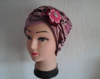 stretchy reversible chemo Hat pink