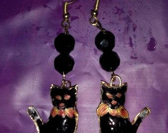 Black Cat Cloisonne Earrings