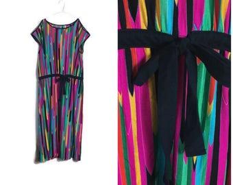 Retro rainbow dress // 1980s colourful loose shift sun dress // boho vintage dress // 80s electro dress // loud 80s dress // boho disco