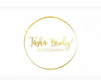 ON SALE Circle Logo, Gold Foil Logo, Pre-made Logo, Photographers Logo, Circular Logo Design, Gold Logo, Premade Photography Logo Watermark,