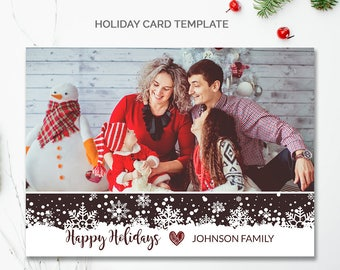 Digital Christmas Card Template, Holiday Card for Photographer Christmas Card, Printable Happy Holiday Card,  5x7 Holiday Cards Photo, mc183