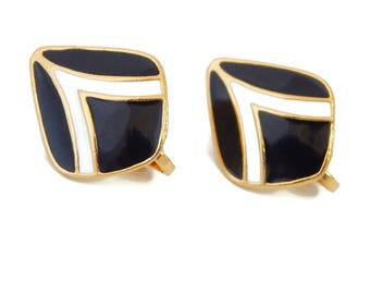 Enamel Earrings Classic  Black and White