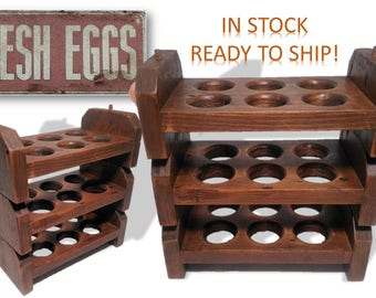 Reclaimed Wood Egg Holder Stackable Tray Rustic Food Organizer Storage Easter Farmhouse Vintage Country Kitchen Retail Display Foodie Gifts
