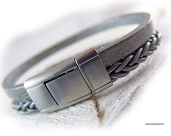 Men's braided leather bracelet middle grey metallic silver stainless steel mens jewelry - gift for husband best friend brother boyfriend dad