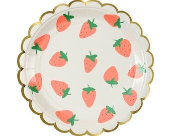Strawberry Party Plates (Set of 8) - Meri Meri Small Paper Plates | Fruit Party