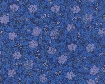 Moda The Morris Jewels Blue Sapphire Barbara Brackman Floral Fabric 8141-31