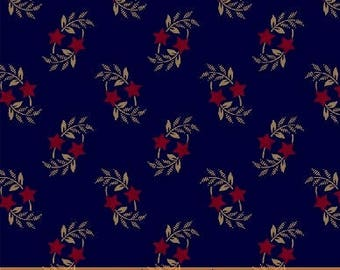 Windham Freedom Bound Star Leaf Navy Blue Cream Red Civil War 41974-1 Fabric BTY