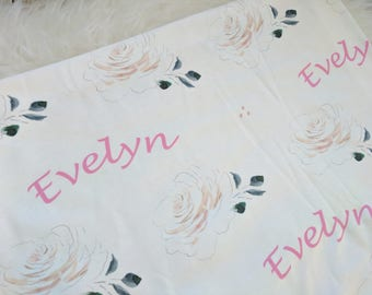 Personalized white rose baby name swaddle blanket: baby and toddler personalized name newborn hospital gift baby shower gift