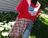 Plus Size, Patriotic Tunic, Funky USA Shirt,Plus Patriotic Dress, Fun USA tunic, Boho, Lagenlook, Special listing for Diane