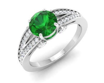 Round Emerald Engagement Ring With Diamond 14K Gold | Anniversary Ring | Emerald Ring | May Birthstone Ring | Diamond Ring | Emerald Ring