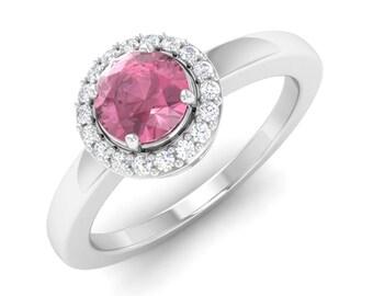 Natural Pink Tourmaline And Diamond Engagement Ring 14K Gold | Women Wedding Ring | Anniversary Ring | Pink Diamond Ring | Halo Ring