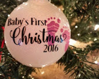 Baby's 1st Christmas Ornament- Glittered & Personalized
