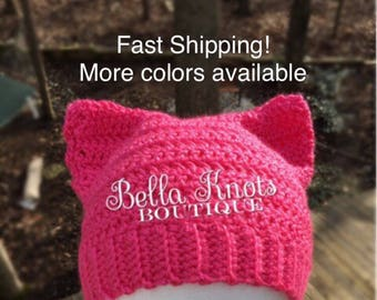 Pussyhat, Pink Pussy Hat, Pussy Cat Hat, Crochet Beanie, Cat Ears, Pussyhat, Pink pussyhat, cat, cat ear, pussy cat, Pussy Cat