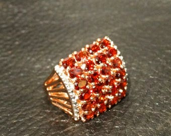 Gorgeous Garnet Ring Ruby Rival Rose Gold Overlay Vintage