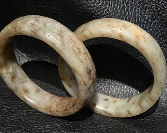 Pair Antique Jade Bangles, Carved Nephrite, Qing Dynasty 18th/19th Century