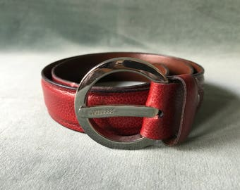 Vintage Lottusse leather belt / red leather belt / size XS