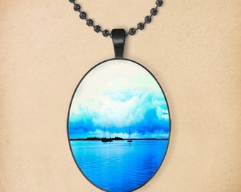 Blue Ocean Oval Pendant