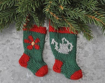 Gardener's Flower & Watering Can Hand-Knit Christmas Stocking Ornaments