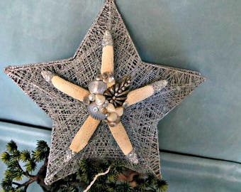 Silver Elegance Starfish Tree topper_coastal  Christmas tree topper for holiday beach decor _ON SALE